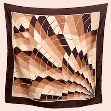 Vintage Abstract Fan Pattern Cream Brown French Silk Scarf
