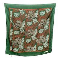 Vintage Christian Dior Oversize Green Burnt Orange Paisley Silk Scarf