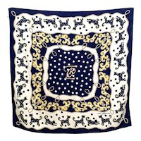 Vintage Ted Lapidus Silk Scarf with Rococo Cat Pattern