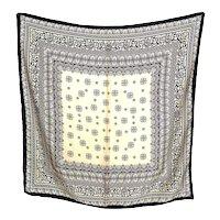 Vintage Elegant Classic Cream Black Pattern Silk Scarf Hua Li