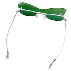 Vintage 1960s Mod Rare KK Spectacle John Lennon Japanese Flip-Up Green Sunglasses