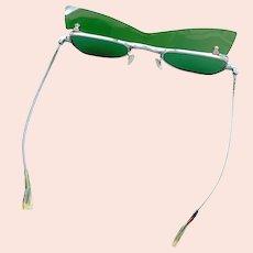 Vintage 1960s Mod Rare KK Spectacle John Lennon Japanese Flip-Up Green Sunglasses