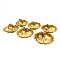 Vintage Set Six Gold Glazed Ceramic Leaf Small Plate Jewelry Holder