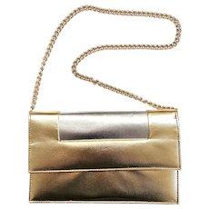 Vintage 1960s Walborg Joseph Magnin Shiny Mod Gold & Silver Purse Clutch