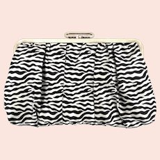 Vintage Zebra Print Satin Clutch Purse Hot Pink Lining