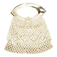 Vintage 1960s Macrame Crochet Purse Faux Shell Handle