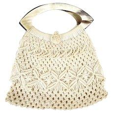 Vintage 1960s Macrame Crochet Purse Faux Shell Handle