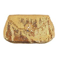 Vintage Whiting Davis Gold Mesh Small Clutch Bag Purse Rhinestone Clasp