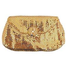 Vintage Whiting Davis Gold Mesh Small Clutch Bag Purse Rhinestone Clasp