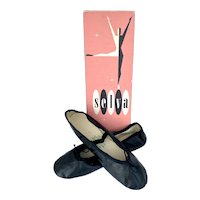 Vintage 1960s Girls Selva Black Ballet Slippers Original Box