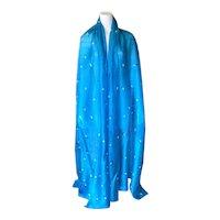 Vintage Blue Feather Pattern Raw Silk Dupioni Fabric