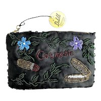 Vintage 1950 Delill Creation Beaded Embroidered Cosmetics Purse