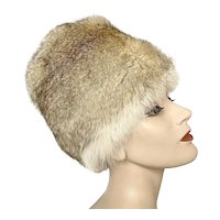 Vintage 1960 Mod Go Go Tall Gumdrop Brown White Silver Rabbit Tall Fur Hat