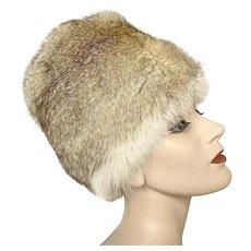 Vintage 1960 Mod Go Go Tall Gumdrop Brown White Silver Rabbit Tall Fur Hat