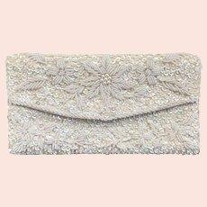 Vintage White Pearl Sequin Handmade Beaded Hong Kong Evening Clutch Bag