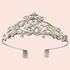 Vintage 1950s Iridescent Rhinestone Goldtone Bandeau Headband Tiara