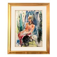 1960s Vintage Watercolor Expressionist Painting Nude Model Artist Hendrik Grise