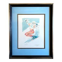 Vintage 1980s Happy Skier Limited Edition Print Signed Morgan