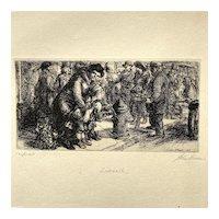 John Sloan Original Etching Sidewalk Pencil Signed 1917
