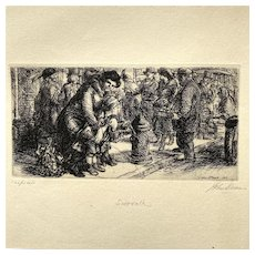 John Sloan Original Etching Sidewalk Pencil Signed 1917