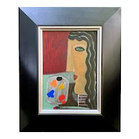 Original Vintage Cubism Style Oil Painting Artist Young Girl