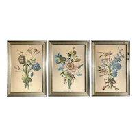 Vintage Jean-Louis Prévost Style Framed Flower Botanical Print Trio Art