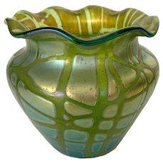 Antique Art Nouveau Loetz Crete Pampas Green Iridescent Art Glass Vase