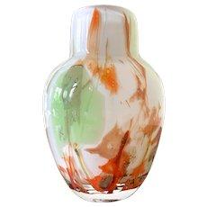 Vintage Rare 1978 Multi Color Inclusion Art Glass Vase Fostoria Designer Impressions