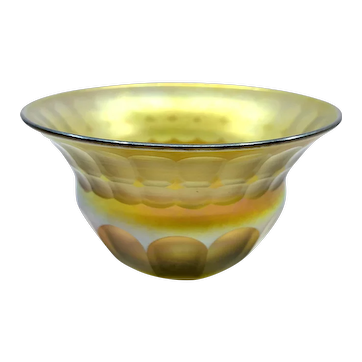 LCT Tiffany Studios Gold Iridescent Favrile Glass Faceted Bowl