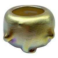 Antique LCT Tiffany Iridescent Blown Glass Favrile Twisted Prunt Salt Dish Cellar
