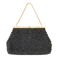 Vintage 1950s Mr John Hong Kong Black Beaded Mother Pearl Evening Bag