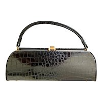 Vintage 1950s Black Faux Alligator Purse