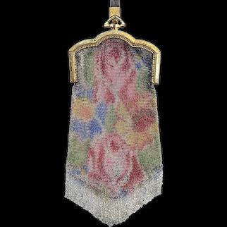Vintage 1920s Whiting Davis Dresden Floral Enameled Mesh Gold Frame Wrist Bag