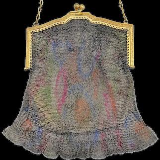 Vintage 1920s Whiting Davis Dresden Enamel Color Abstract  Mesh Gold Frame Bag