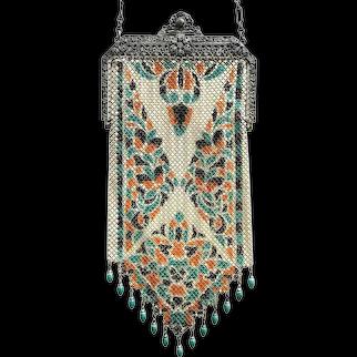 Vintage 1920s Mandalian Lustro Pearl Medium Fine Mesh V Beaded Fringe Bag