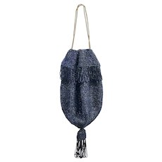 Vintage 1920s Iridescent Cobalt Blue Black Glass Beaded Crochet Tassel Reticule Drawstring Purse