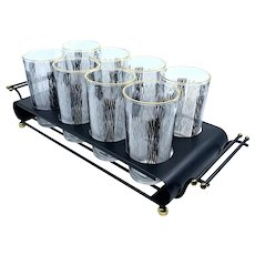 Vintage Mid-Century Modern Graphic Black White Gold Cocktail Glass Set Metal Caddy