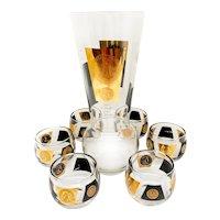 Vintage MCM Cera 22K Gold Black Coin Cocktail Pitcher Roly Poly Glass Barware Set