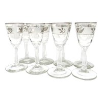 Vintage Libbey Hostess Glassware Eight Silver Foliage Cordial Set Original Box