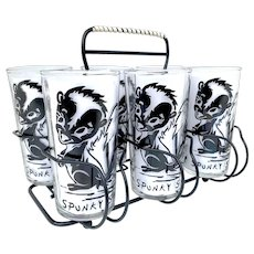Vintage Spunky Skunk Character 1950s Glass Barware Caddy Set