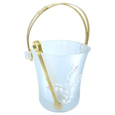 Vintage Frosted Glass Handpainted Floral Small Ice Bucket Barware Gold Handle Tongs