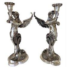 Vintage French Beaux Arts Silver Mythological Winged Mermaid Candlestick Holders