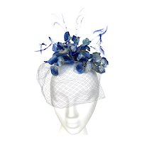 Vintage 1950s Blue Flower Veil Hat Whimsy Birdcage Fascinator