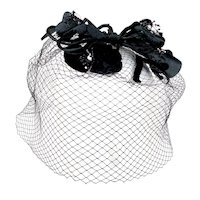 Vintage 1950s Black Velvet  Flower Veil Hat Whimsy Birdcage Fascinator