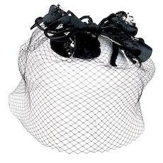 Vintage 1950s Black Velvet  Flower Veil Hat Whimsy Birdcage Fascinator