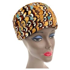 Vintage 1950s Rounded Pillbox Colorful Pheasant Feather Jackwill Ladies Hat
