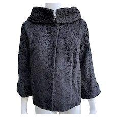Vintage 1950 Black Persian Lamb Swing Jacket Convertible Collar
