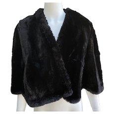 Vintage 1940 Black Sheared Beaver Fur Cape Mortons Washington DC