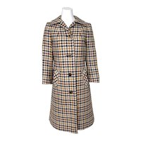 Vintage 1960s Mod British Wool Houndstooth Coat Purple Lining by Aquascutum