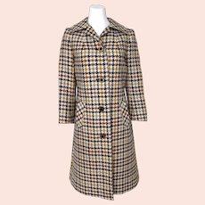 Vintage 1960s Mod British Wool Houndstooth Coat Purple Lining by Aquascutum